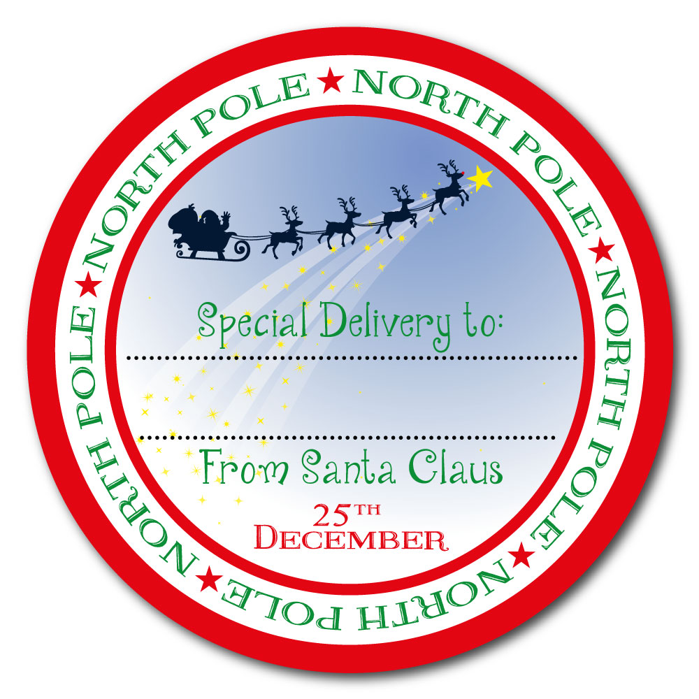 From Santa Claus - North Pole special delivery stickers ...