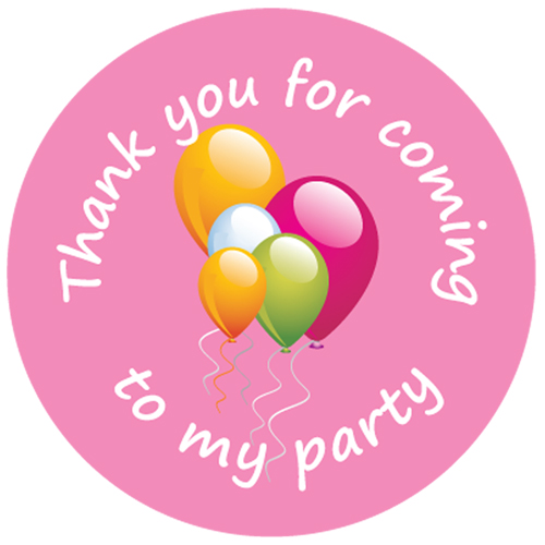 Thank You For Coming To My Party Birthday Stickers