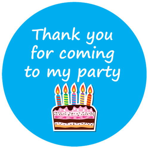 Thank You For Coming To My Party' Birthday Stickers Birthday Cake ...